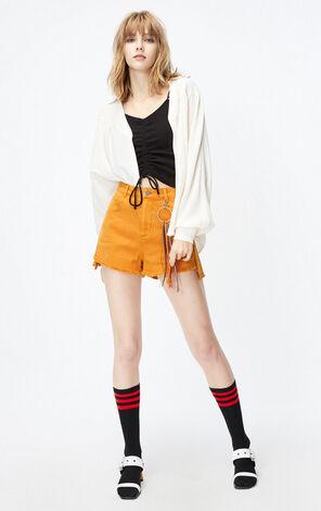 ONLY2019秋季新款寬鬆V領薄長袖襯衫|119305521