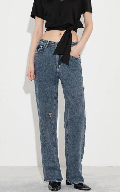 仿舊磨損高腰直筒牛仔褲, 藍, large
