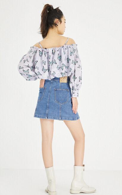 單排金屬扣高腰丹寧短裙, 藍, large