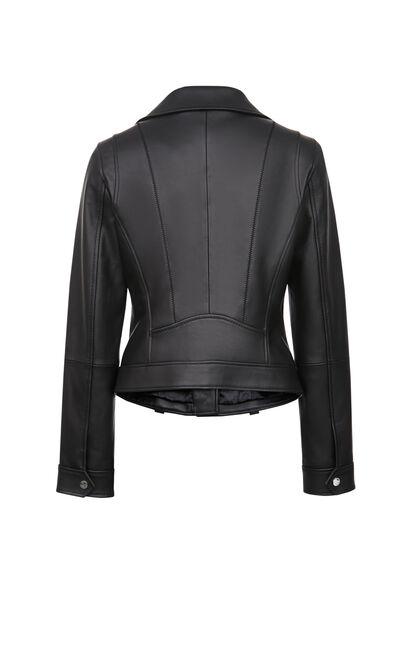 經典款拉鍊騎士皮衣, 黑, large