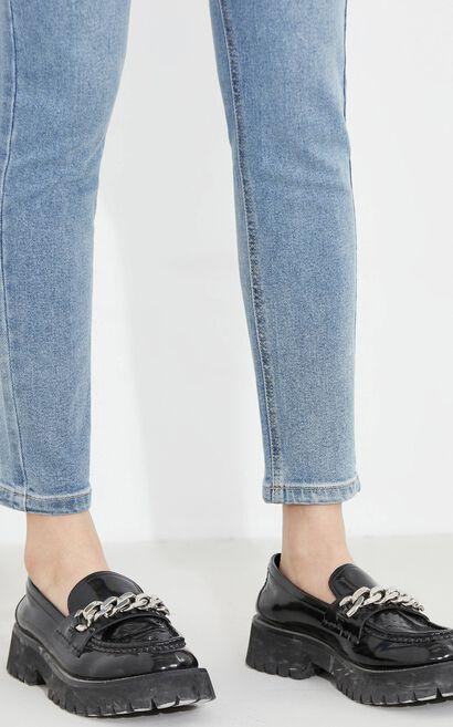 修身顯瘦百搭休閒九分牛仔褲, 水藍色, large
