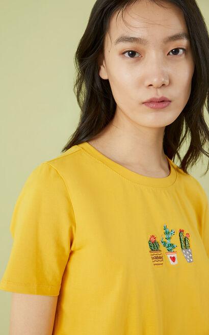 植物刺繡休閒圓領短袖上衣, 黃, large