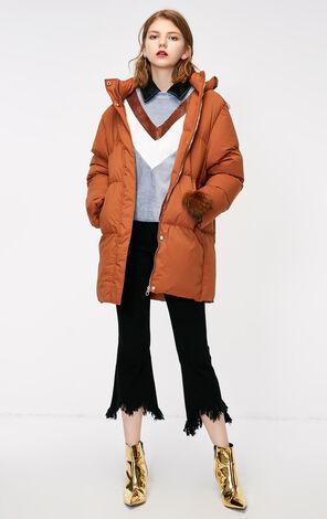 冬季新款簡約純色連帽羽絨服女|118312510