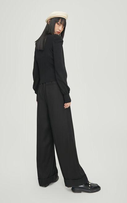 時尚迷人長袖針織衫, 黑, large