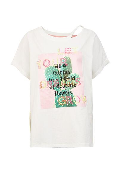 亮片裝飾圓領短袖T恤, 白, large
