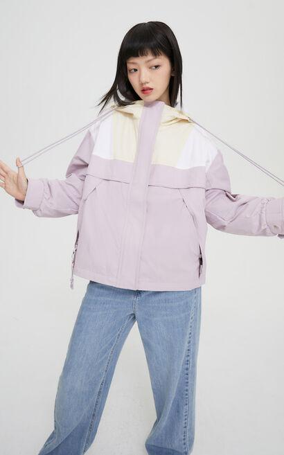 時尚撞色工裝風大口袋連帽外套, 紫色, large