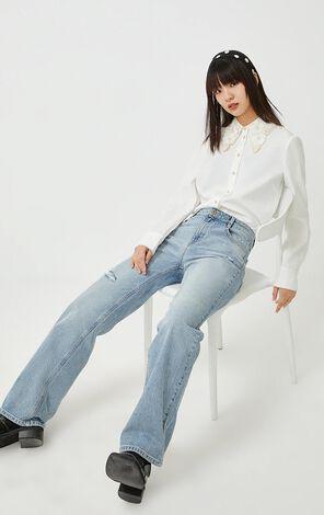【冬季新款】氣質刺繡花領長袖襯衫