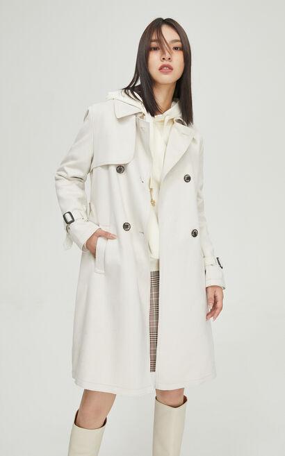 法式簡約純色風衣外套, 白, large