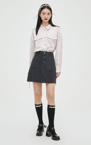 時尚氣質純色長袖寬鬆襯衫