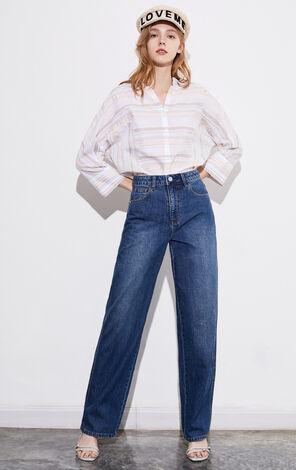 ONLY 寬鬆慵懶純棉闊腿高腰顯瘦牛仔褲|120132520