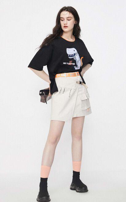 恐龍繡花短袖T恤, 黑, large