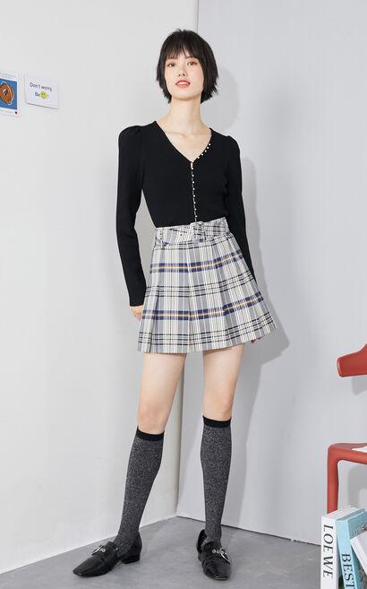 【秋冬新款】泡袖V領修身珍珠針織衫, 黑, large