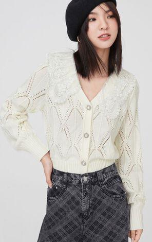 時尚甜美鏤空針織衫外套