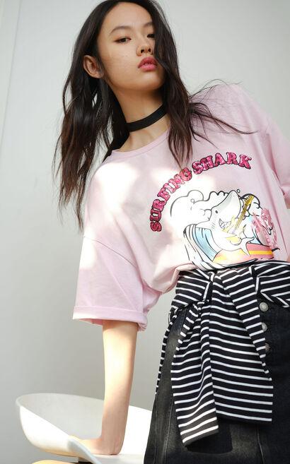 寬鬆純棉短袖T恤, 粉色, large