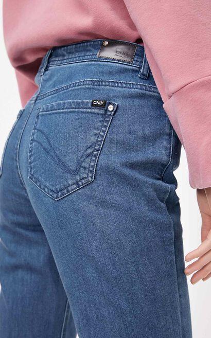 時髦低腰微喇九分丹寧褲, 藍, large