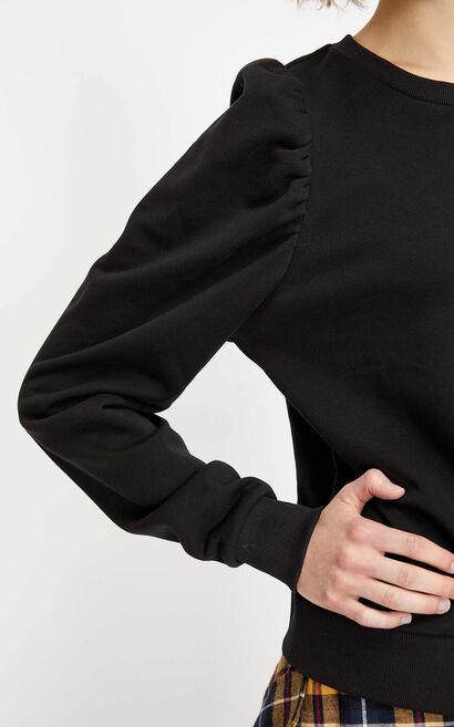 圓領百搭復古袖休閒衛衣, 黑, large
