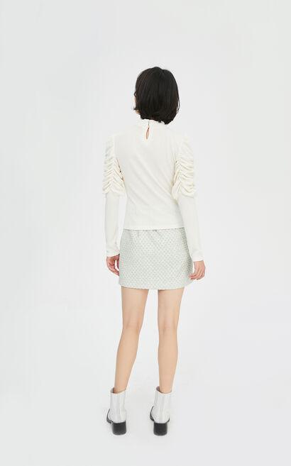 法式優雅公主袖圓領修身立體圖案T恤, 白, large
