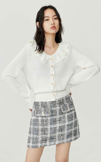 甜美娃娃領荷葉邊針織衫, 白, large