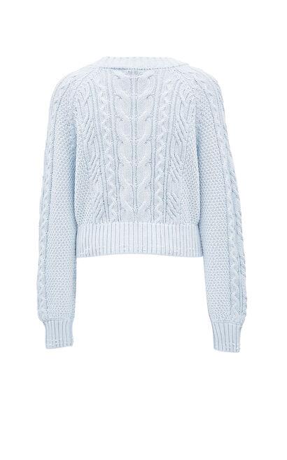 歐式優雅幾何圖案針織寬鬆V領針織衫, 藍, large