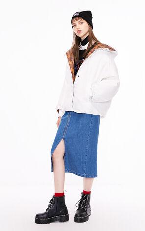 冬季新款簡約連帽麵包羽絨服女|118323526
