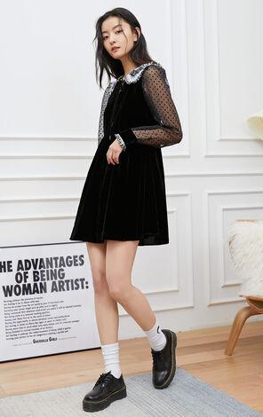 【2件8折】氣質波點透視修身洋裝