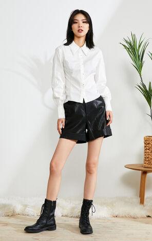 【秋冬新款】簡約明線設計長袖工裝襯衫
