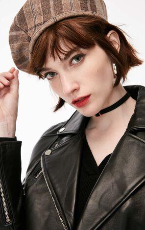冬季新款繫帶裝飾格紋平頂帽女|118486504