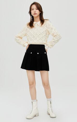 法式優雅娃娃領鏤空花朵蕾絲設計上衣