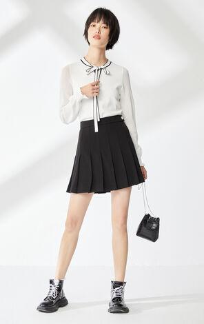 【秋冬新款】奶油白領口繫帶裝飾針織衫