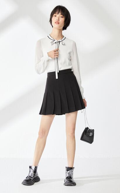 奶油白領口繫帶裝飾針織衫, 白, large