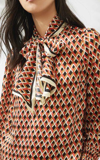 復古潮設計雪紡長袖襯衫, 軍綠, large