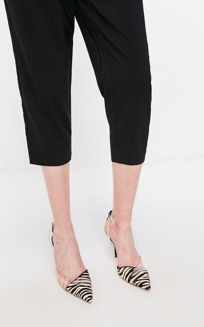 黑色寬鬆七分休閒褲, 黑, large