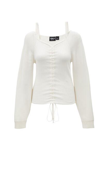 性感迷人V領短款針織衫, 白, large
