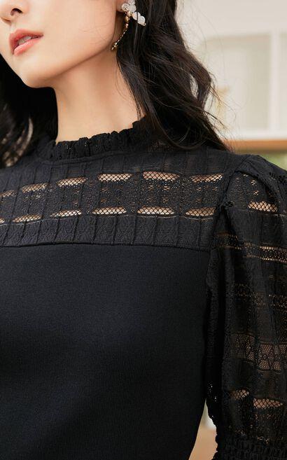 簍空蕾絲拼接泡袖上衣, 黑, large