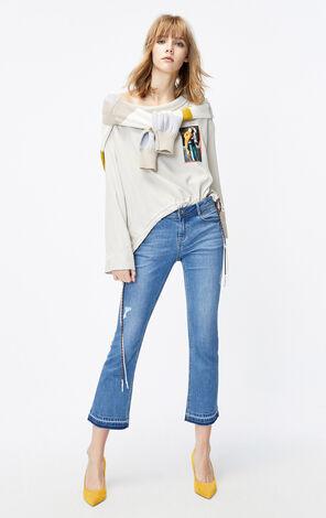 ONLY2019秋季新款豹紋低腰微喇九分牛仔褲|119349560