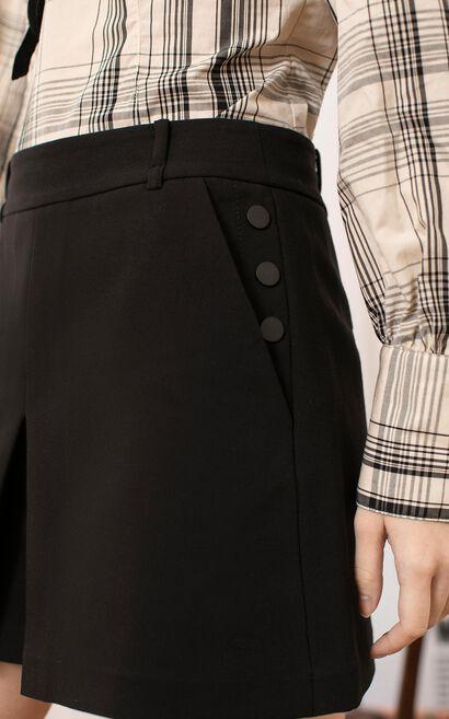 百搭側邊扣設計短褲, 黑, large