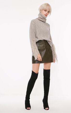 冬季新款金屬亮絲流蘇高領針織衫女|118313512