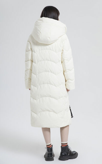 純色兔毛高領長版羽絨外套, 白, large