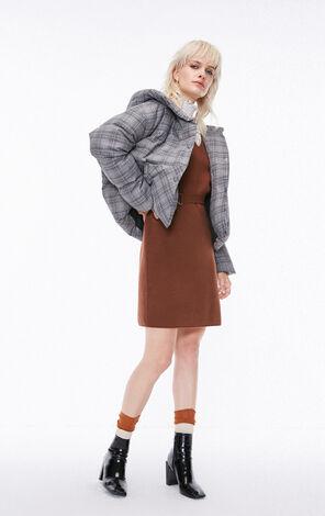 冬季新款格紋連帽短款羽絨服女 118323507