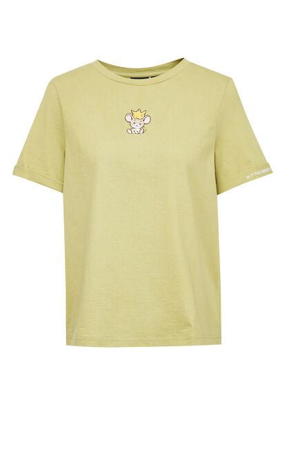 貓咪刺繡圓領T恤, 綠色, large