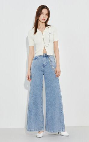 時尚潮流高腰寬鬆休閒牛仔褲