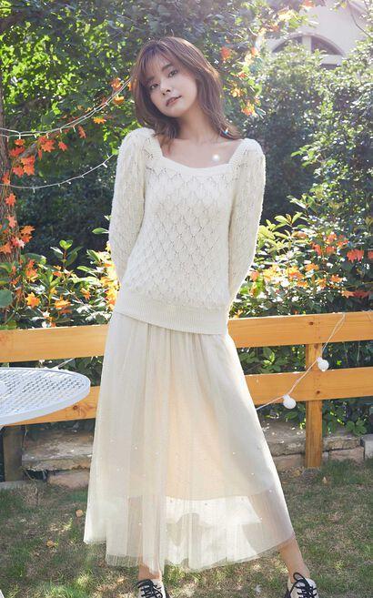 氣質方領2in1針織洋裝, 白, large