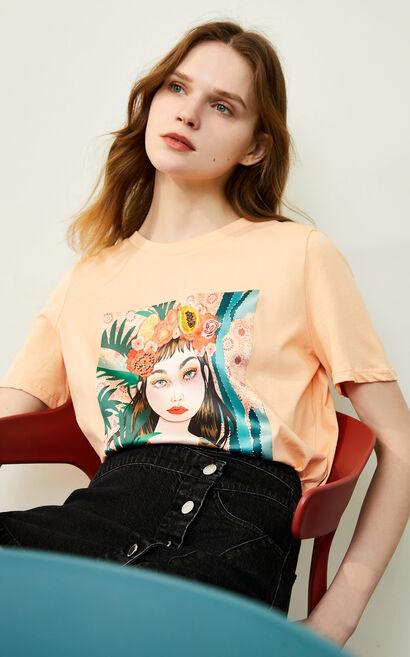 復古文藝印花純棉圓領短袖T恤, 桔色, large