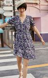 復古碎花不對稱下擺設計洋裝, 紫色, large