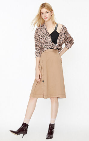 ONLY2019秋季新款高腰紐扣A字牛仔半身裙|119337516