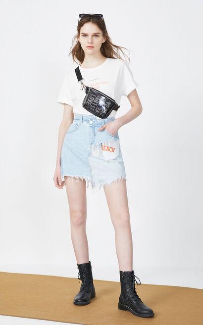 拼接毛邊牛仔短裙, 水藍色, large