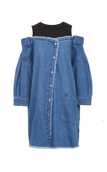 拼接顯瘦牛仔連身洋裝, 藍, large