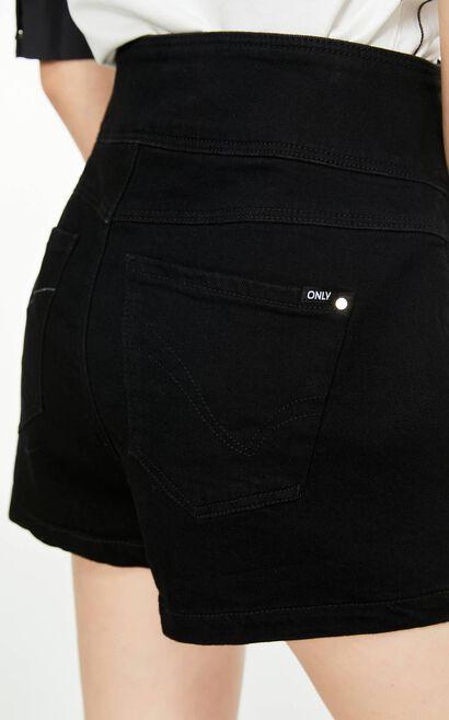 高腰排扣牛仔短褲, 黑, large