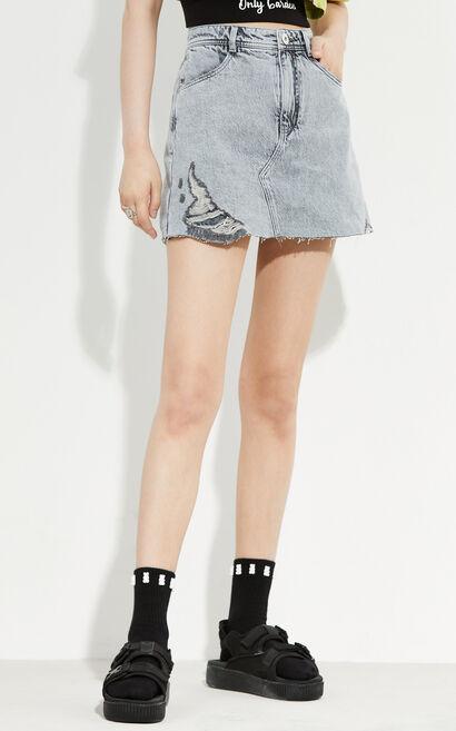 時尚潮流高腰修身顯瘦牛仔裙褲, 淺灰, large