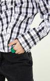 時尚潮流格紋設計寬鬆長袖雪紡衫, 黑, large